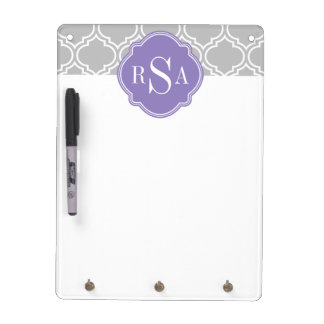 Grey Tile Lattice Pattern Lavender Monogram Dry Erase Board