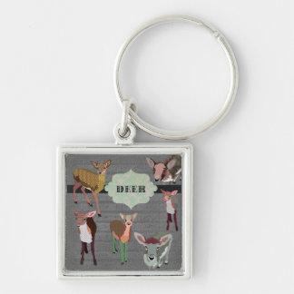 Grey Vintage Deer Keychain