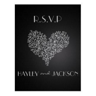 "grey wedding rsvp postcards ""with love"""