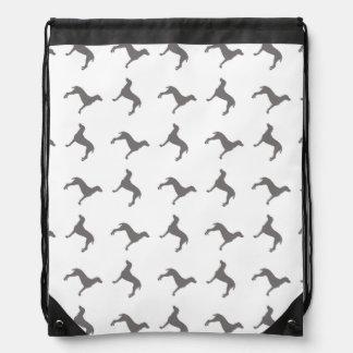 Grey Weimaraner Silhouettes on White Background Drawstring Bag
