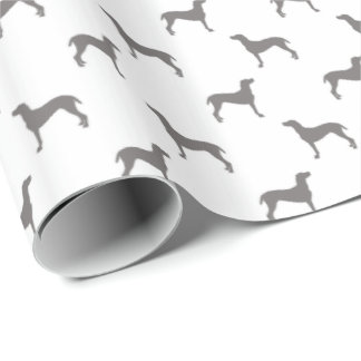 Grey Weimaraner Silhouettes on White Background Wrapping Paper