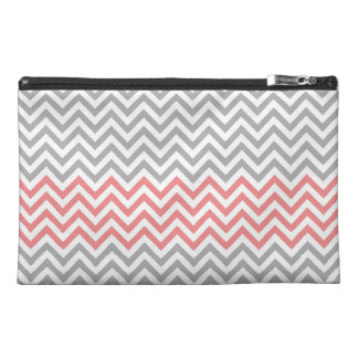 Grey White and Coral Chevron Travel Accessories Bags
