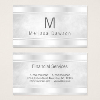 Grey White and Silver Bar Borders Professional Business Card