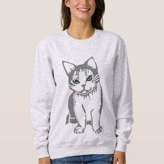 Grey White Cat with Jade Eyes Women's Sweatshirt