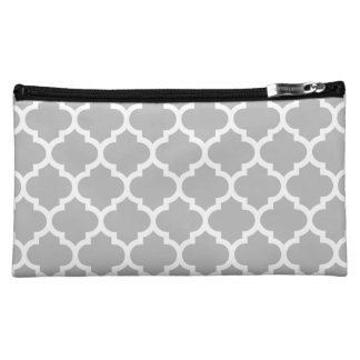Grey White Moroccan Quatrefoil Pattern #5 Cosmetic Bags