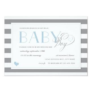 Grey & White Stripe Baby Boy Shower Blue Accents Card