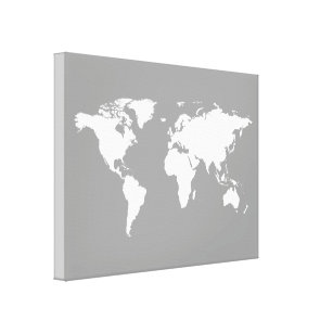 World map canvas prints wall art zazzle grey white world map canvas print gumiabroncs Images