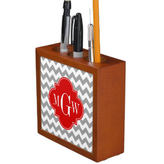 Grey Wht Chevron Red Quatrefoil 3 Monogram Desk Organiser