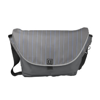 Grey with Blue Pinstripes Commuter Bag