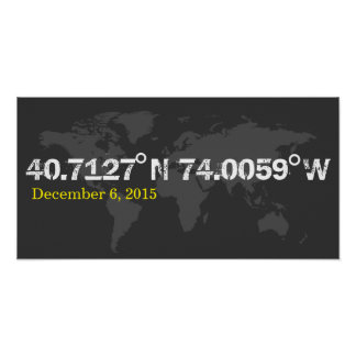 grey World coordinates date wedding print