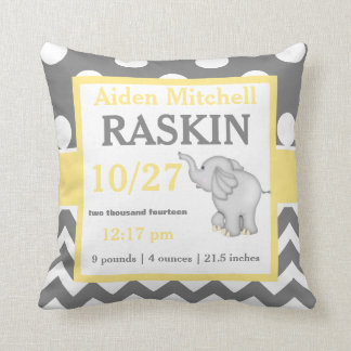 Grey Yellow Elephant Baby Announcement Pillow