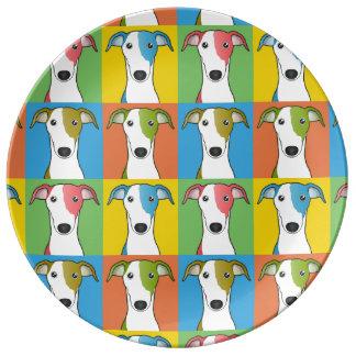 Greyhound Dog Cartoon Pop-Art Plate