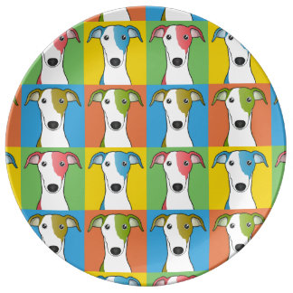 Greyhound Dog Cartoon Pop-Art Porcelain Plates