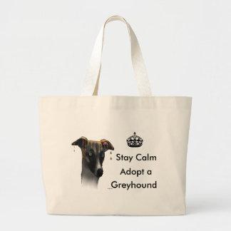 Greyhound  dog large tote bag