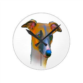 Greyhound  dog round clock