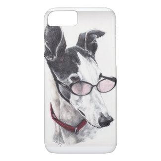 Greyhound in glasses Dog Art iPhone 7 Case