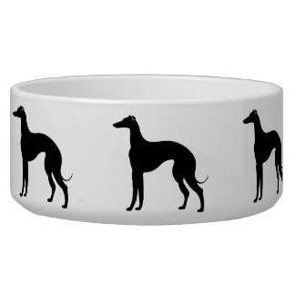 Greyhound Silhouettes in Black and White Pet Dog Water Bowls