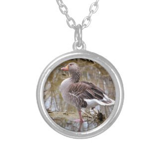 Greylag goose in water silver plated necklace