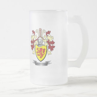 Griffiths Family Crest Coat of Arms Frosted Glass Beer Mug