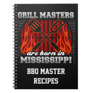 Grill Masters Are Born In Mississippi Personalized Spiral Notebook