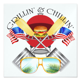 Grillin' and Chillin' Patriotic Card