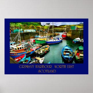 grimsay harbour north uist poster