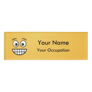 Grinning Face with Open Eyes Name Tag