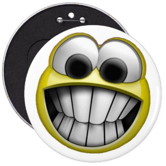 Grinning Happy Smiley Face 6 Cm Round Badge