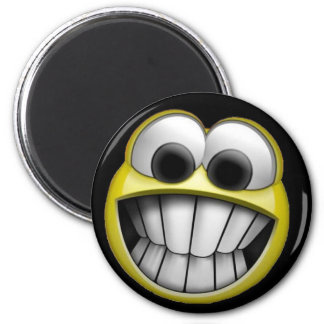 Grinning Happy Smiley Face 6 Cm Round Magnet