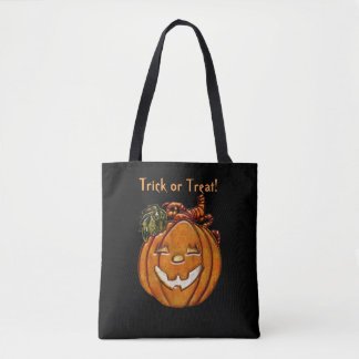 Grinning Pumpkin Trick or Treat Tote Bag