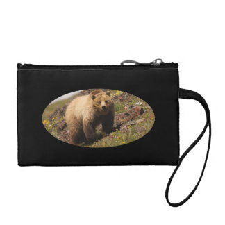 Grizzly bear and wildflowers coin purse
