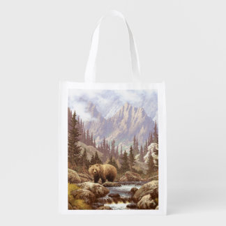 Grizzly Bear Landscape Reusable Grocery Bag