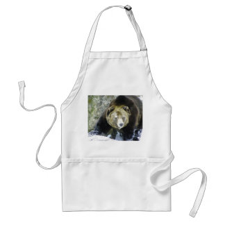 Grizzly Bear Portrait In Snow Standard Apron