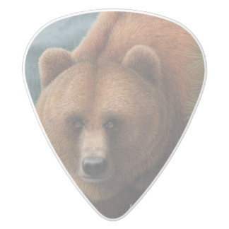 Grizzly Bear White Delrin Guitar Pick