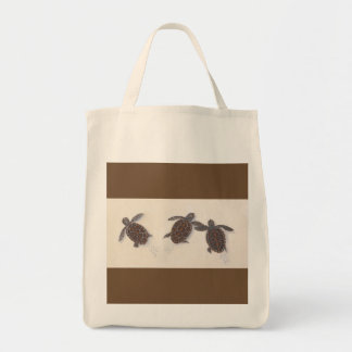 grocery bag with three baby turtles leaving tracks
