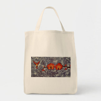 Grocery Tote Bag with Hummingbird