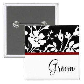 Groom Black and White Floral Button