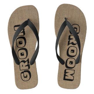 Groom Burlap Look Flip Flops