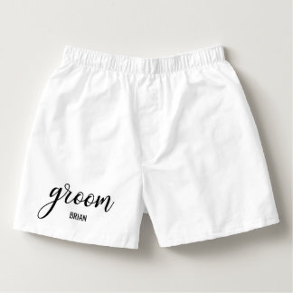 GROOM Name White Black Wedding / Bachelor Party Boxers