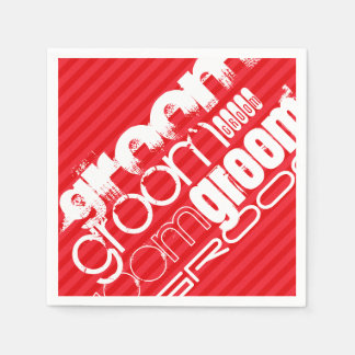 Groom; Scarlet Red Stripes Disposable Serviettes