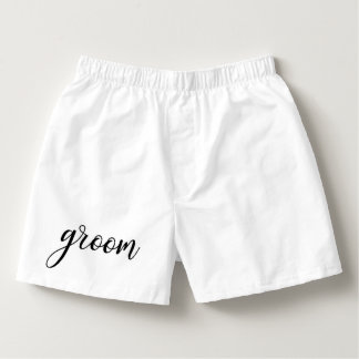 GROOM White Black Wedding / Bachelor Party Boxers