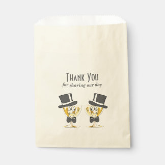 Grooms Champagne Toast, Gay Male Wedding Favour Bags