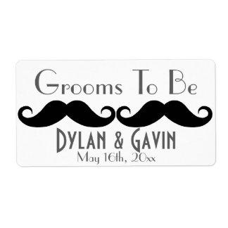 Grooms To Be Mustache Gay Wedding Water Bottle