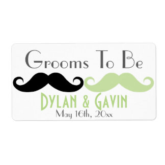 Grooms To Be Mustache Gay Wedding Water Bottle Shipping Label