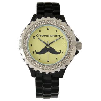 Groomsman Mustache Rhinestone Watch