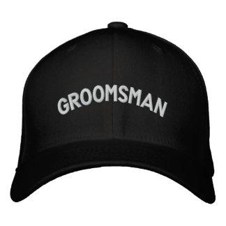 Groomsman text embroidered baseball cap