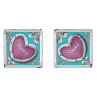 Groomsmen Gifts Cufflinks! Add Name, Change Color! Silver Finish Cuff Links