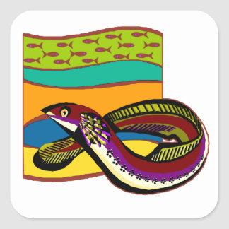 Groovy Green Eel Square Sticker