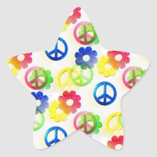 Groovy Hippie Peace Signs Flower Power Sparkles Star Sticker