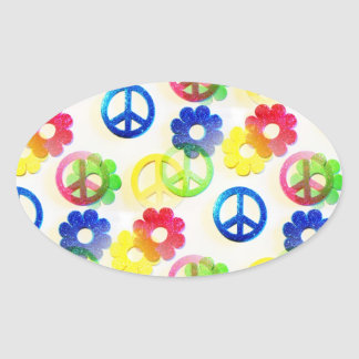 Groovy Hippie Peace Signs Flower Power Sparkles Oval Sticker